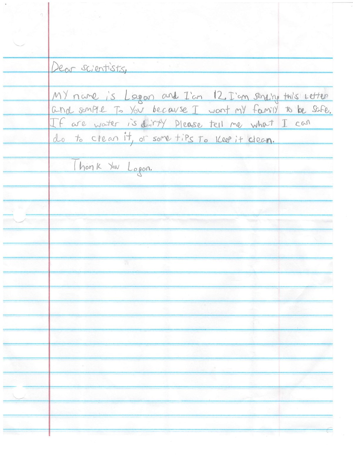 LETTER FROM LOGAN